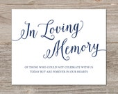 In Loving Memory Sign, Navy Wedding Sign // Printable Wedding Remembrance Sign // Instant Download