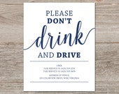 Please Don't Drink and Drive Sign // Wedding Bar Sign, Printable Taxi Wedding Sign // Instant Download Navy Wedding Signage