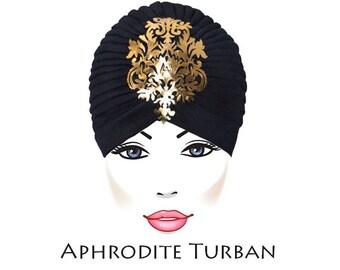Turban Hat Head Wrap with Shiny Gold Arabesque Applique
