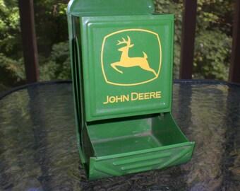 Vintage Style John Deere Green Metal Advertising Match Safe Wall Holder