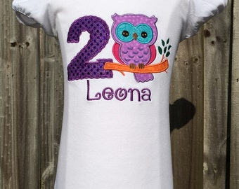 BIRTHDAY OWL-Personalized EMBROIDERED Bodysuit or T-shirt