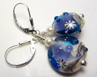 Artisan Lampwork Earrings Blue and Purple Earrings Seashell Earrings Ocean Earrings Beach Jewelry Ocean Wave Earrings Nautical Gift for Her