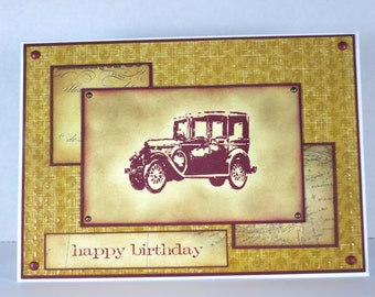 Vintage Car Birthday Card in Red and Gold