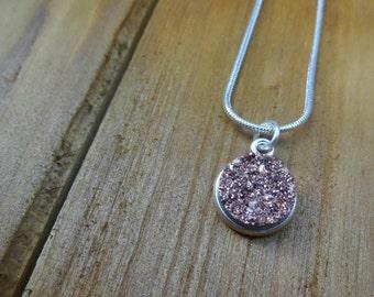 Purple Druzy Necklace, Faux Druzy Pendant Necklace, Silver Necklace, Purple Stone Necklace, Pruple Gemstone Necklace, Charm Necklace