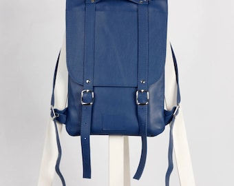 Blue/navy leather backpack rucksack / To order / blue Leather Backpack / Leather rucksack / Womens backpack / Christmas Gift