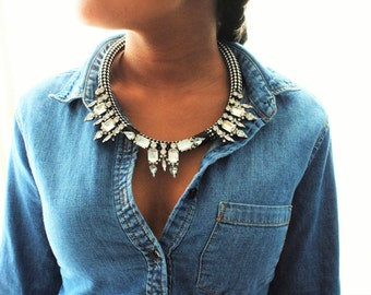 Black and White Embellished Cord Statement Necklace