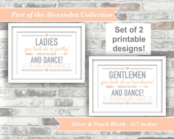 INSTANT DOWNLOAD - Alexandra Collection - Printable Wedding Bathroom Pamper Station Signs - Ladies Gentlemen 5x7 Digital Files Silver Peach