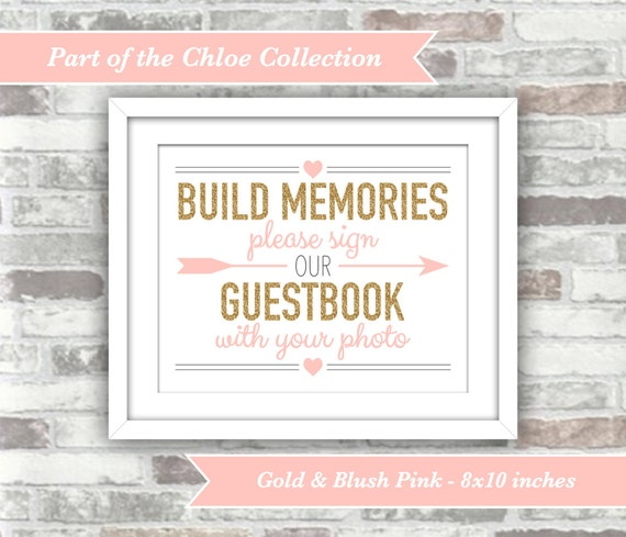 INSTANT DOWNLOAD - Chloe Collection - Printable Wedding Photograph Photo Guestbook Guest Book Sign - Printable Digital File Gold Blush Pink