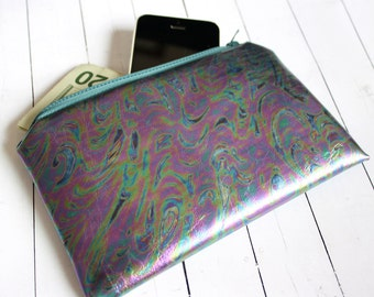 Dark iridescent pouch, holographic purse, small pouch, faux leather