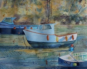 Original watercolour painting of boats, Porthleven, Cornwall, Cornish harbour, boats in the harbour, harbour wall, Cornwall boats