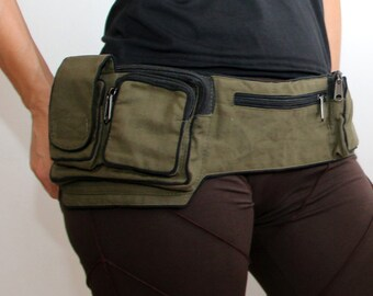 Cotton Utility Belt- Festival Belt - Fanny Pack - Bum Bag- Hip Bag - Money Belt- Burning Man-Waist Belt