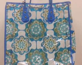 Mid Century Mod Blue Flower Print Vinyl Bag Psychedelic Print