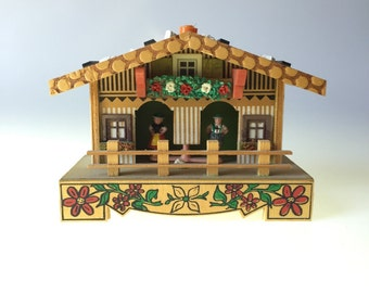 Bambi Wooden Weather House Colorful Folkart