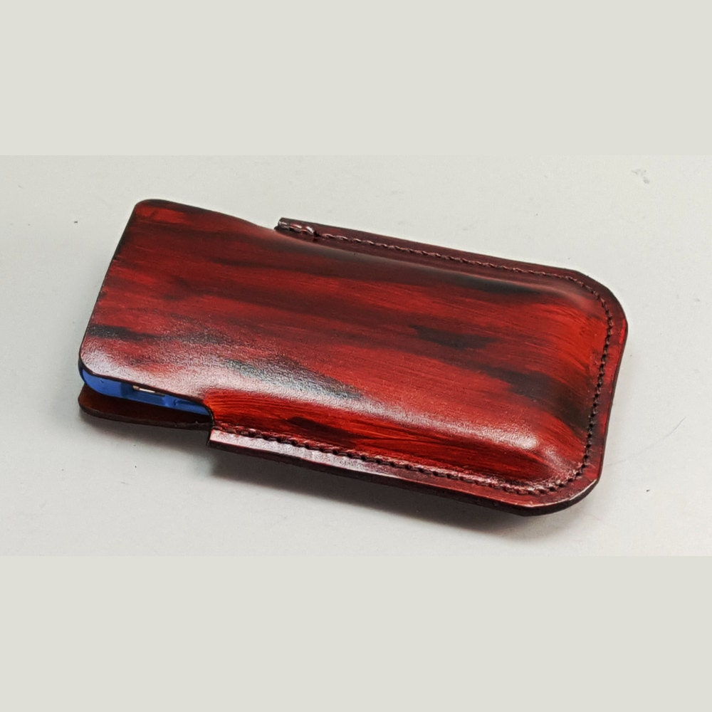 mahogany iphone 6 leather belt holster with integral belt loop
