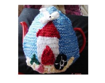 TEA COSY KNITTING Patterns, Seaside Tea Cosy,  Cosy, Tea Cozy, Pdf Knitting Patterns, Beach Hut Tea Cosy, Tea Cozy Knitting Pattern,