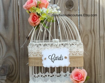 Wedding Birdcage Card Holder, Wedding Card Holder, Birdcage Decor,Box,Bridal Shower Cards Box,Wedding,Cards Box ,Shabby Chic Wedding Box