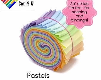 "20 x 2.5"" Pastel Jelly Roll PreCut Fabric Strips, 2.5 inch x WOF, 10 colours, Die Cut"