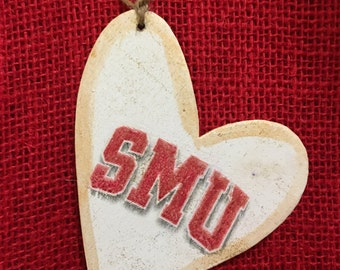 SMU-wood tag 3 by 3 light weight heart.  Great for add on to a gift or all by it self! Memory Maker and keepsake. Personalization.