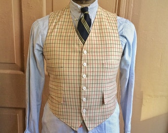 Vintage 1950s Wool Tattersall Vest by Brooks Brothers. Size 40