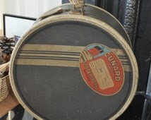 Vintage American Tourister Hat Box with Cunard Line RMS Invernia Label c1950's