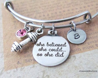 She believed she could so she did  Barbell Personalized Hand Stamped Initial Birthstone Fitness Stainless Steel  Expandable Bangle Bracelet