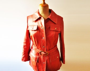 Vintage Red Leather Women Jacket - Size 14