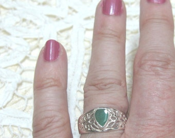 Emerald Sterling Silver Ring Size 9