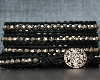 wrap bracelet- silver mirror finish faceted crystal beads on black leather- leather and crystal wrap bracelet
