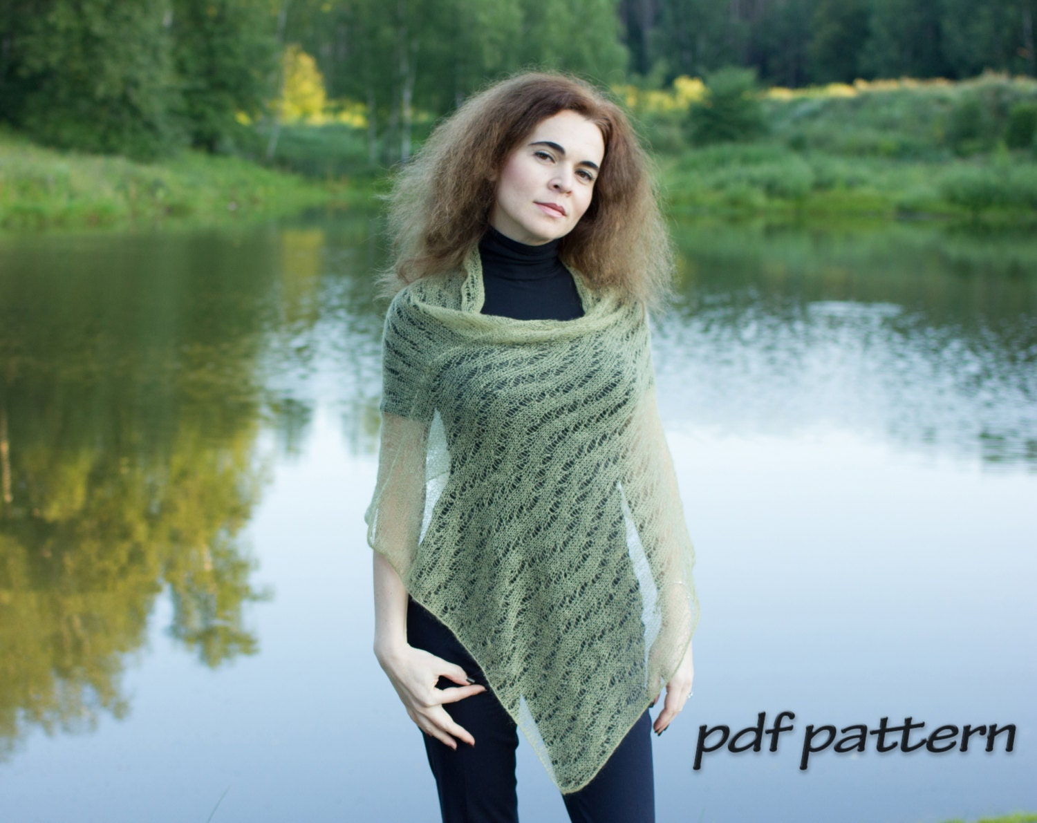 Knitting pattern perfect poncho knitted poncho lace wrap pretty this is a digital file bankloansurffo Gallery