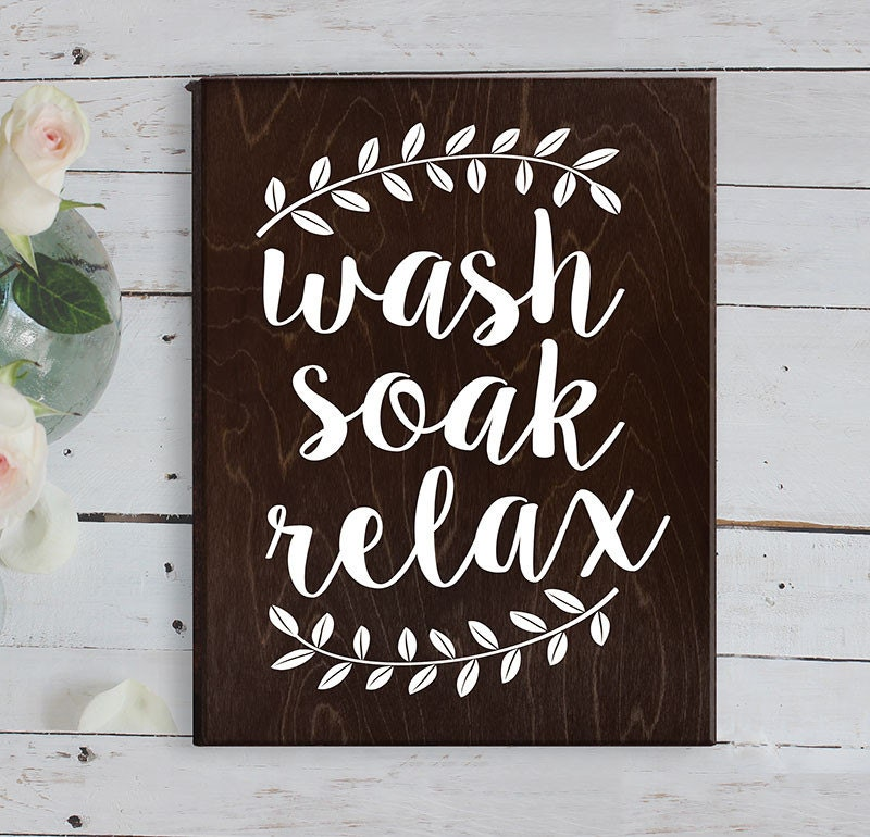 Wash soak relax wood sign bathroom sign bathroom by for Wood bathroom wall decor