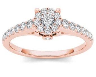 10Kt Rose Gold Diamond Engagement 0.50 Ct Ring