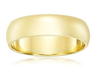 14Kt Yellow Gold Comfort Fit Wedding Band 6mm