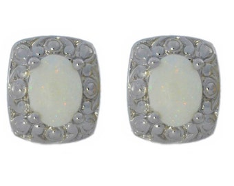 Natural Opal Oval Stud Earrings .925 Sterling Silver