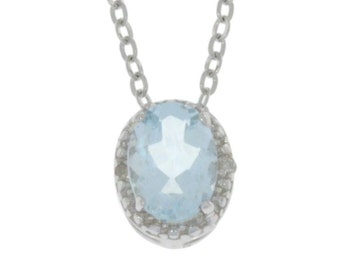 1 Ct Natural Aquamarine & Diamond Oval Pendant .925 Sterling Silver
