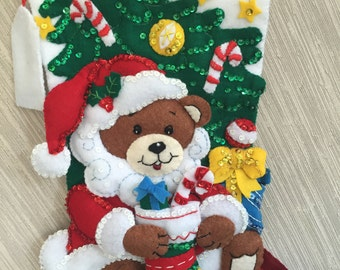 Teddy Bear Santa Completed Handmade Felt Christmas Stocking from Bucilla Kit