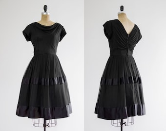 1950s black chiffon dress | 50s party dress women