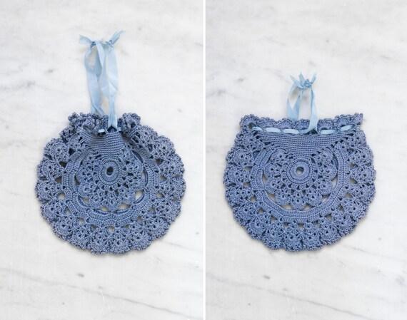 antique edwardian reticule | vintage 1910s crochet purse | blue antique bag