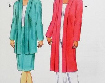 Duster Jacket, Open Front, Side Pockets, Pull On Skirt Kwik Sew 3198 Sewing Pattern Miss Sizes XS, S, M, L, XL UNCUT