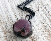 Raw Ruby necklace Bohemian copper necklace oxidized by hand Gift for her black necklace Bohemian necklace natural Ruby necklace