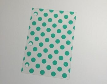 Pocket flyleaf/dashboard TEAL polka dots
