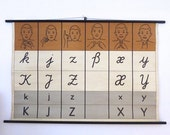 ON SALE Sign Language School Chart - Vintage School Chart German Sign Language - DGS Alphabet