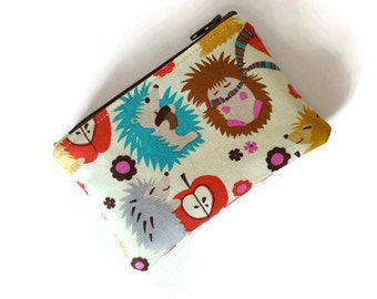 Coin Purse / Zip pouch / Change Purse / Business Card Holder in Fun Hedgehog Print