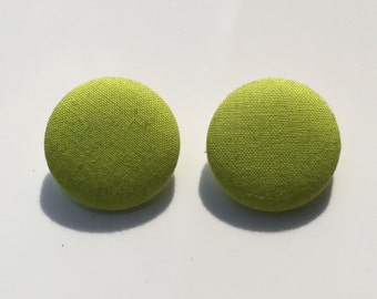 Lime Green Button Earrings