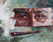 Commission portrait painting Noodles eyes (60x45cm) Custom portrait from photo Hand painted Art by Valiulina