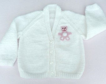 Baby girl hand knitted white cardigan 6 to 12 months baby. Baby sweaters and baby clothes
