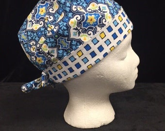 Blue/yellow floral in tile Scrub hat REVERSIBLE modern bouffant or Pixie Style