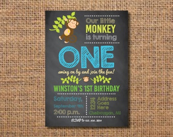 Monkey Birthday Invitation, First Birthday Boy Invitation, Monkey Birthday Party, Boy First Birthday Invite, Monkey Party Decor