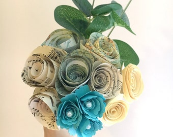 Mixed paper flower posy - music sheet, atlas sheet paper, teal and cream tones with greenery.