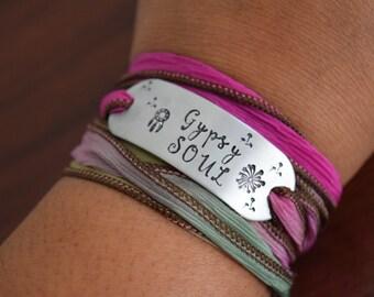 Gypsy Soul~Dandelions~Hand Stamped Ribbon Wrap Bracelet