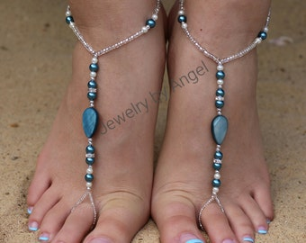 Barefoot Sandals - Foot Jewelry White and Teal Sandals